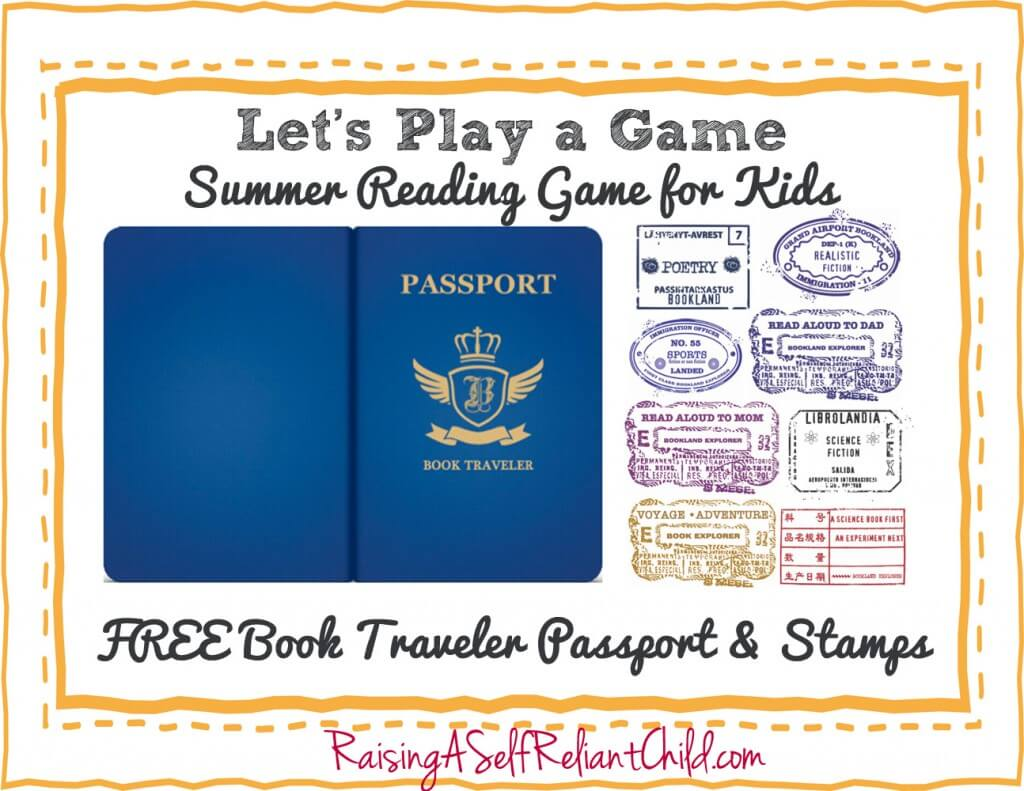 FREE Children's summer reading game. Book Travel Passport and stamps.