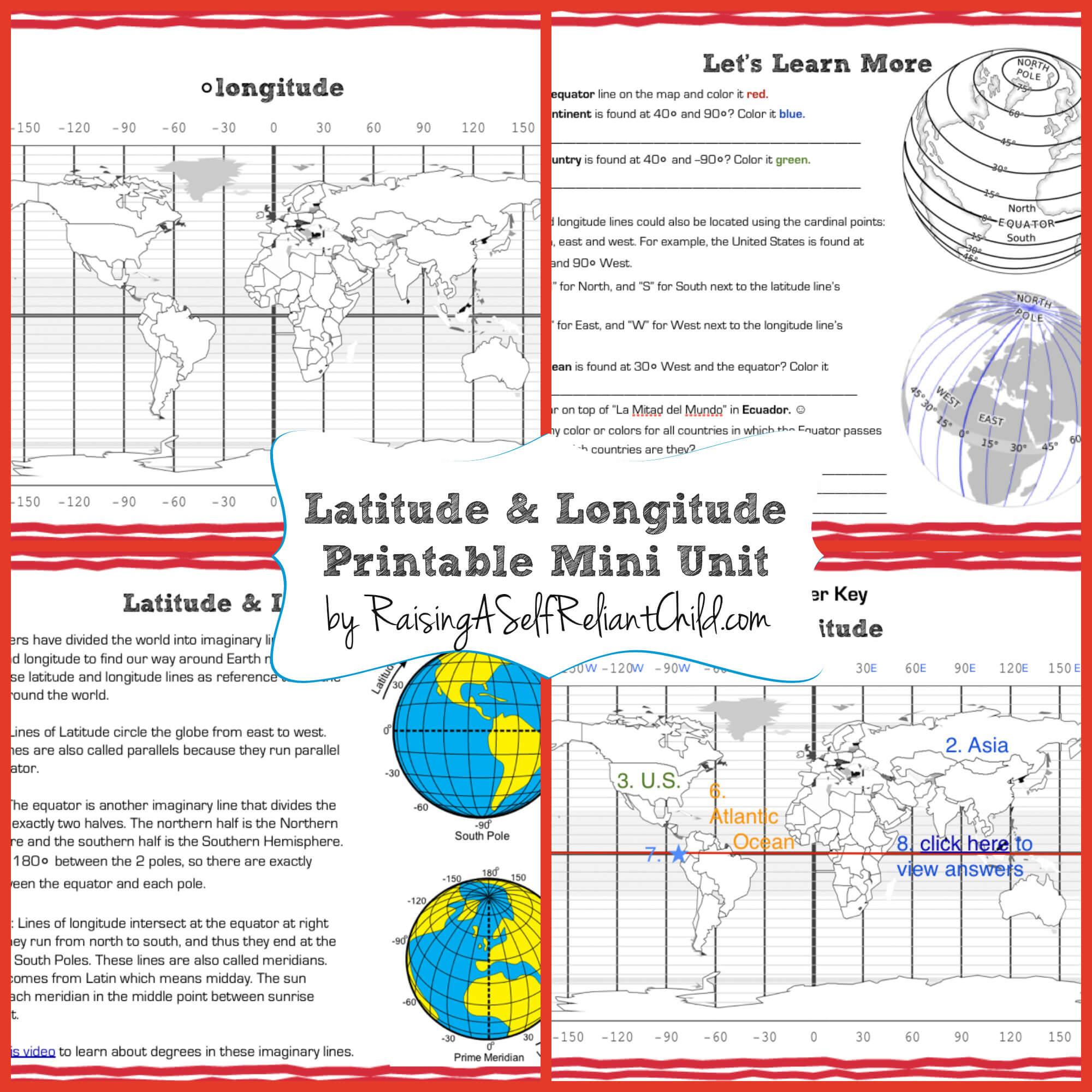 Worksheets Longitude And Latitude Worksheet free printable mini unit latitude and longitude for kids