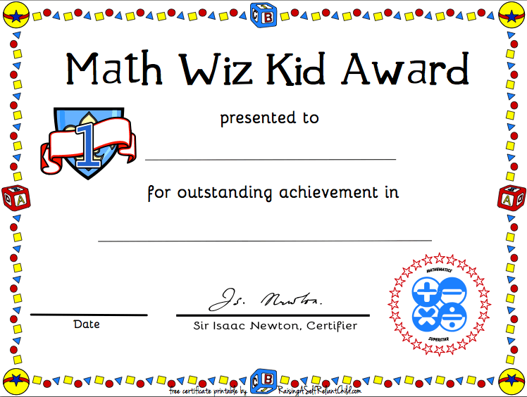 Free Printable Math Certificate of Achievement