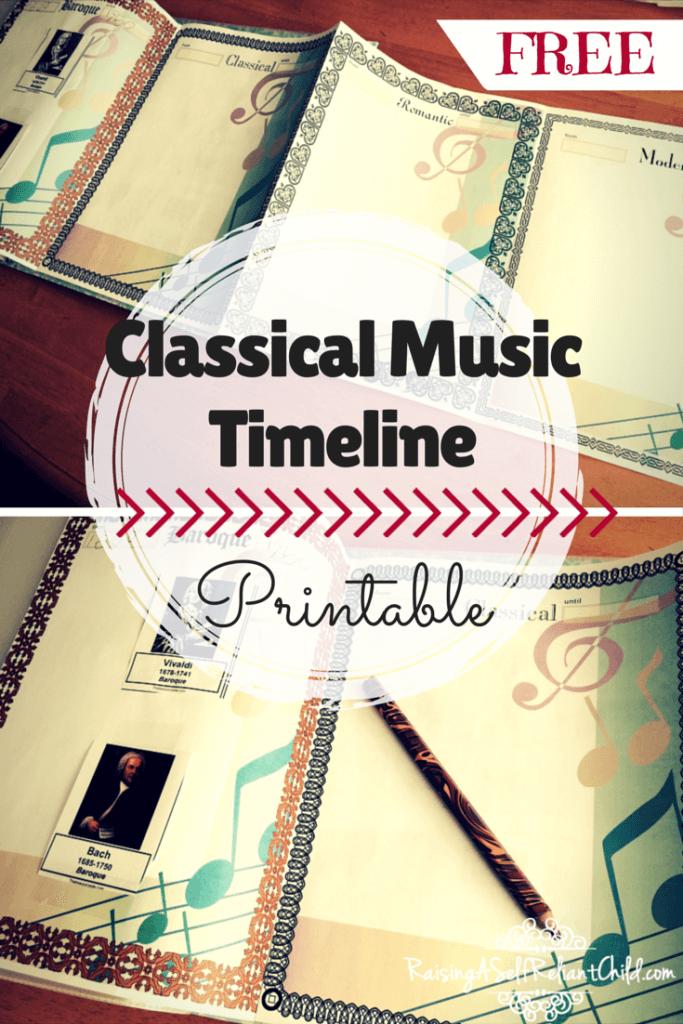 Classical Music timeline printable homeschool