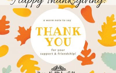 Thanksgiving: We Thank YOU!