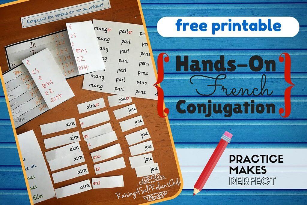 french verb conjugation kids printable