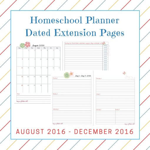 Homeschool PlannerExtension Pages